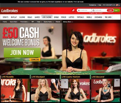 Play With £50 Cash at Ladbrokes Live Casino!